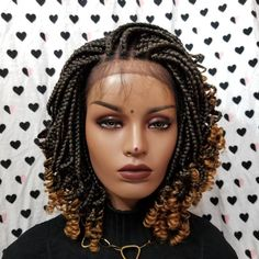 Handmade Box Braid Braided Lace Front Wig With Curly Ends Colors ombre Braids With Curls, Braids Wig, Box Braids Hairstyles, Twist Braids, Long Braids, Wedding Hairstyles, Curly Braids, Hair Twists, Small Braids