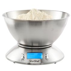 Digital Electronic Kitchen Scales with Stainless Steel Mixing Bowl Baking Cook #VonShef