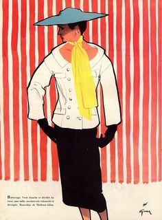Balenciaga design illustrated by Rene Gruau, 1952
