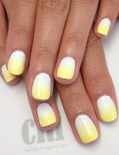 Usually I don't like Yellow nails, but these are awesome! Ombre Lemon-Drop Nails.