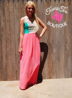 Flying Tomato Mint and Pink Aztec Tribal Maxi Dress