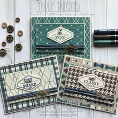 Truly Tailored Bundle by Stampin' Up! From the 2018 Occasions Catalog Masculine Card Trio by Stesha Bloodhart, Stampin' Hoot! Masculine Birthday Cards, Birthday Cards For Men, Masculine Cards, Guy Birthday, Boy Cards, Men's Cards, Flip Cards, Paper Craft Making, Nautical Cards