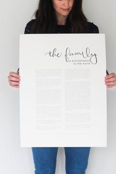 The Family: A Proclamation to the World (Hand-Lettered) of the Church of Jesus Christ of Latter-day Saints (LDS). Printed on 140 lb. archival quality paper, 5x7, 11x17 and 18x24. Modern, minimalist design fits your style, whether you want to display it by itself, put it in one of our Proclamation To The Family, Modern Minimalist, Minimalist Design, Transformation Project, Frame Decoration, Religious Paintings, Modern Frames, Silhouette Cameo Projects, House Goals