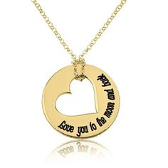 Personalized 24k Gold Plated Love You to the Moon and Back Necklace