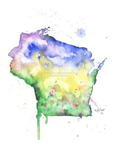 Wisconsin Map Print of watercolor by MilkandHoneybread on Etsy Wisconsin Tattoos, Watercolor Illustration, Arts And Crafts, Map, Handmade Gifts, Cards, Tattoo Art, Alabama, Etsy