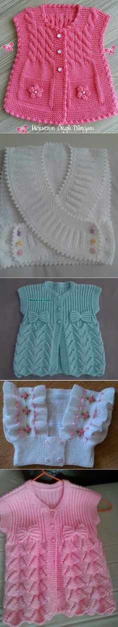 For little girls - Crochet Clothing and Accessories Baby Hoodie, Baby Vest, Baby Cardigan, Crochet Cardigan, Knit Crochet, Knitting For Kids, Baby Knitting Patterns, Knitting Designs, Free Knitting