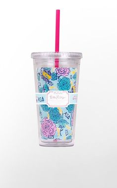 Designed exclusively for the sisters of Alpha Xi Delta, this lovely Lilly Pulitzer print is infused with shades of light blue, dark blue and gold.  The print prominently features the A Xi D pink rose, crest and quills.  And hidden throughout the pattern, you will find your Greek letters!  Acrylic tumbler includes lid and straw.      Holds 20 oz     BPA-, Phthalate-, and Lead-Free  This is a limited edition item from the Lilly Pulitzer Sorority Collection.