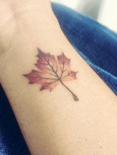 Autumn maple leaf tattoo