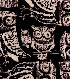 Northwoods Fabric- Owls On Brown Flannel Fabric