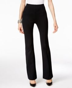 Inc International Concepts High-Waist Curvy-Fit Bootcut Pants, Only at Macy's - Black 12S