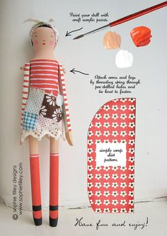 Doll Kit by Sophie Tilley. How cute is that wrap skirt? Want one for myself.