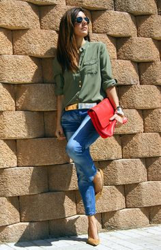 army green, jeans, and heels