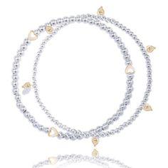 Buy Joma jewellery amelia double silver bracelet gold hearts from www.lizzielane.com £22.50 http://www.lizzielane.com/product/joma-jewellery-amelia-double-silver-bracelet-gold-hearts/