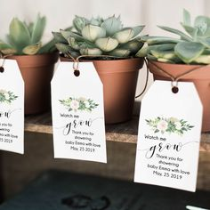 Watch me grow tags, succulent tags, baby shower favor tags, … – Baby Shower Ideas Boho Baby Shower, Baby Shower Floral, Baby Boy Shower, Baby Shower Party Favors, Bridal Shower Games, Baby Shower Themes, Baby Shower Parties, Baby Shower Gifts, Shower Ideas