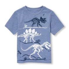 s Toddler Boys Short Sleeve Dinosaur Skelton Graphic Tee - Blue T-Shirt - The Children's Place Kids Fashion Boy, Toddler Fashion, Fall Fashion, Fashion Outfits, Toddler Boy Outfits, Kids Outfits, Toddler Boys, Little Man Style, Stylish Boys