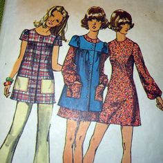 Love this smock from the 70's - a must for campus attire at that time. My Childhood Memories, Sweet Memories, Retro Fashion, Vintage Fashion, Vintage Sewing Patterns, Mccalls Patterns, I Remember When, Vintage Outfits, Vintage Dresses