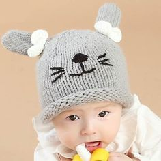 01e475bbc37 Gray rabbit beanie hats with ears for baby lovely newborn hat autumn winter  wear