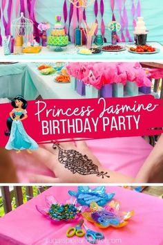 Everything you need to know to plan the ULTIMATE Princess Jasmine Party on a budget. Menu ideas, decor plans, party activities for kids, and easy party favors that double as party crafts. Aladdin Birthday Party, Aladdin Party, Disney Birthday, Birthday Party Themes, Girl Birthday, Themed Parties, Birthday Cake, Princess Jasmine Party, Party Activities
