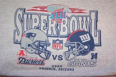 New England PATRIOTS New York GIANTS Superbowl T Shirt NFL 2008 Football Sz L #PortCo #PatriotsGiants