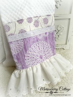 Lavender & Lace cottage charm kitchen towel vintage eyelet lace