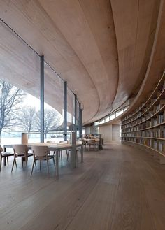 Kengo Kuma and Associates has collaborated with Mad Arkitekter on the design of a library that will curve around existing trees in a small urban park in Skien, Norway. Kengo Kuma, Norway News, Low Bookshelves, Wood Shingles, Urban Fabric, Urban Park, Museum, Library Design, Design Competitions