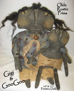Gigi and GooGoo 16 & 12 Primitive Black Doll by olderusticprims
