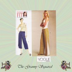 Items similar to Wide Leg Pants Pattern with Side Pleat, Back Zipper & Length Options by Sandra Betzina for Vogue, Waist Sewing Pattern 1050 on Etsy Vogue Sewing Patterns, Vintage Sewing Patterns, Pants Pattern, Wide Leg Pants, Trending Outfits, Designers, Zipper, Modern, Etsy