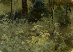 saac Levitan (Russian, 1860-1900), Woodland. Oil on paper laid on canvas, 9 x 12.5 cm.