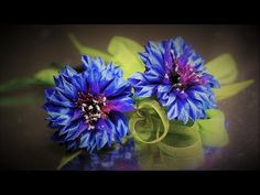 Цветок ВАСИЛЁК, мастер класс, КАНЗАШИ / DIY Ribbon Flower Kanzashi - YouTube