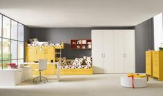 Modern White And Black Children Bedroom With Yellow Furniture By Callesella