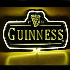 New Guinness 1759 Logo Beer Bar Pub Display Real Neon Gas Glass Tube Sign///How I love you neon signs , Real nice for my Home Bar Deco