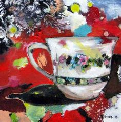 by Michele Nigrini, Rosendal, South Africa Still Life 2, South African Artists, Shall We Dance, Teacups, Mixed Media Art, Fork, Spoon, Artsy, Plate