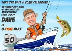 Man's Fishing Birthday Party Invitation - any age - 30th, 40th, 50th, 60th etc, retirement or fishing party created from your photo