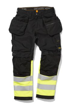 High visibility work trousers with holster pockets combining great fit and comfort with advanced functionality. Advanced knee protection, built-in ventilation and stretch gusset in crotch for all-round performance. Snickers Workwear, Work Trousers, Camisa Polo, Firefighter, Sustainable Fashion, Casual Pants, Work Wear, Mens Fashion, How To Wear