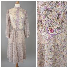 Boho Chic, Vintage 70s, Lavender Floral Dress // 1970s, Cream, Folk, Country, Womens Size Small, Medium