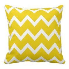 Zigzag Pillow with Lemon Yellow Chevron