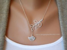 Detailed Bird and Branch Lariat - Silver Necklace - Dainty little silver grey bird and Branch - Perfect Gift - Sterling Silver Chain. $27.00, via Etsy.