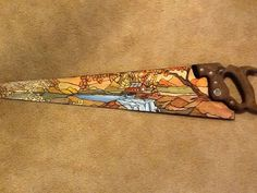 Hand painted saw blade,  water mill , stain glass painting #Stainglasspainting