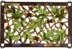 Acorn Oak Leaf Stained Glass Window by Meyda Tiffany