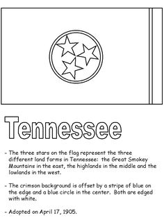 Tennessee State Flag Coloring Page Prek 5 Visual Art