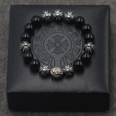 Silver Chrome Hearts Cross Ball GD Bigbang Black Agate Beads Bracelet 10mm