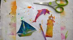Gina Lee Kim: Joy Around the Studio--Gina Kim Lee lets her son color on paper and then cuts shapes from them to use in her art journal!