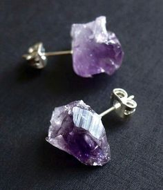 The Raw Amethyst Studs are Adam Rabbit's most popular style right now! Amethyst is known as the sobriety stone and believed to protect one from poison. Perfect for a Saturday night out! Shopadamrabbit.com