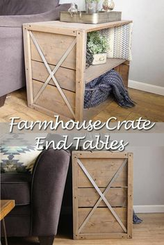 It's safe to say I am a big fan of farmhouse style, and this farmhouse crate end table is giving...