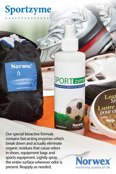 Norwex Sportzyme (www.norwex.biz) contains dormant non-pathogenic bacterial spores. When sprayed on a surface the bacteria feed off food sources such as sweat, athletes' foot, fungal organisms, blood, urine and other micro-organic matter that live in sports or work equipment, clothes and gear. The bacteria release enzymes that breakdown the organic matter into smaller particles converting them to water and carbon dioxide.