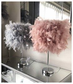 My Dressing Room Blush Pink Feather Table lamp.Decor Zucchini: A Power House of Nutri Blush Pink And Grey Bedroom, Pink Room, Blush And Grey Living Room, Grey Wall Decor, Cute Room Decor, Bedroom Decor For Couples, Room Ideas Bedroom, Feather Lamp, Glam Bedroom