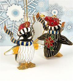 Penguin Cloisonne Christmas Ornament