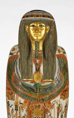 Face from coffin, detail. Carved gilded wood, depth, 7.5, cm,length, 16.6, cm,width, 11.9, cm.1186 B.C.—1069...