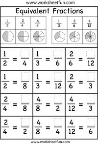 several Equivalent Fractions Worksheets