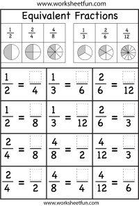 several Equivalent Fractions Worksheets